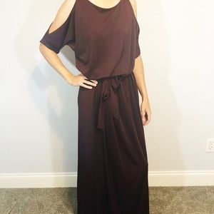 Jay Godfrey cold shoulder dark maroon/plum dress